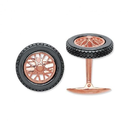 Allot Wheel Tyre Cufflinks Solid Sterling Silver Rose Gold Plated